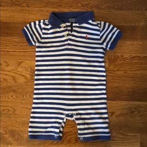 Blue and white striped Polo outfit